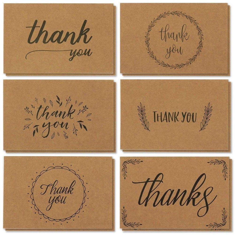 36 Pcs Thank You Cards Bulk Set Kraft Paper Handwritten Style With Envelopes In 2021 Hand Lettering Cards Thank You Greeting Cards Hand Lettering Envelopes