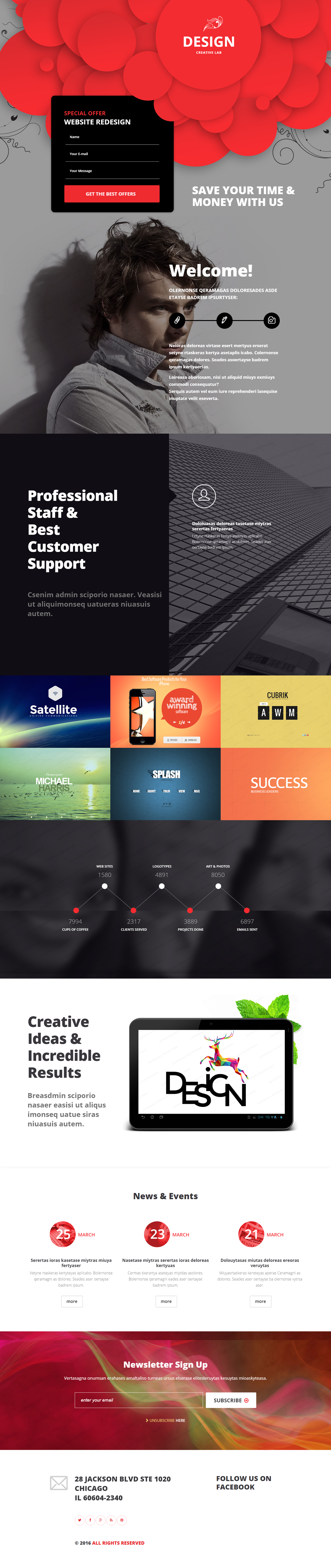 Creative Lab Landing Page Template on Behance | Landing Page ...