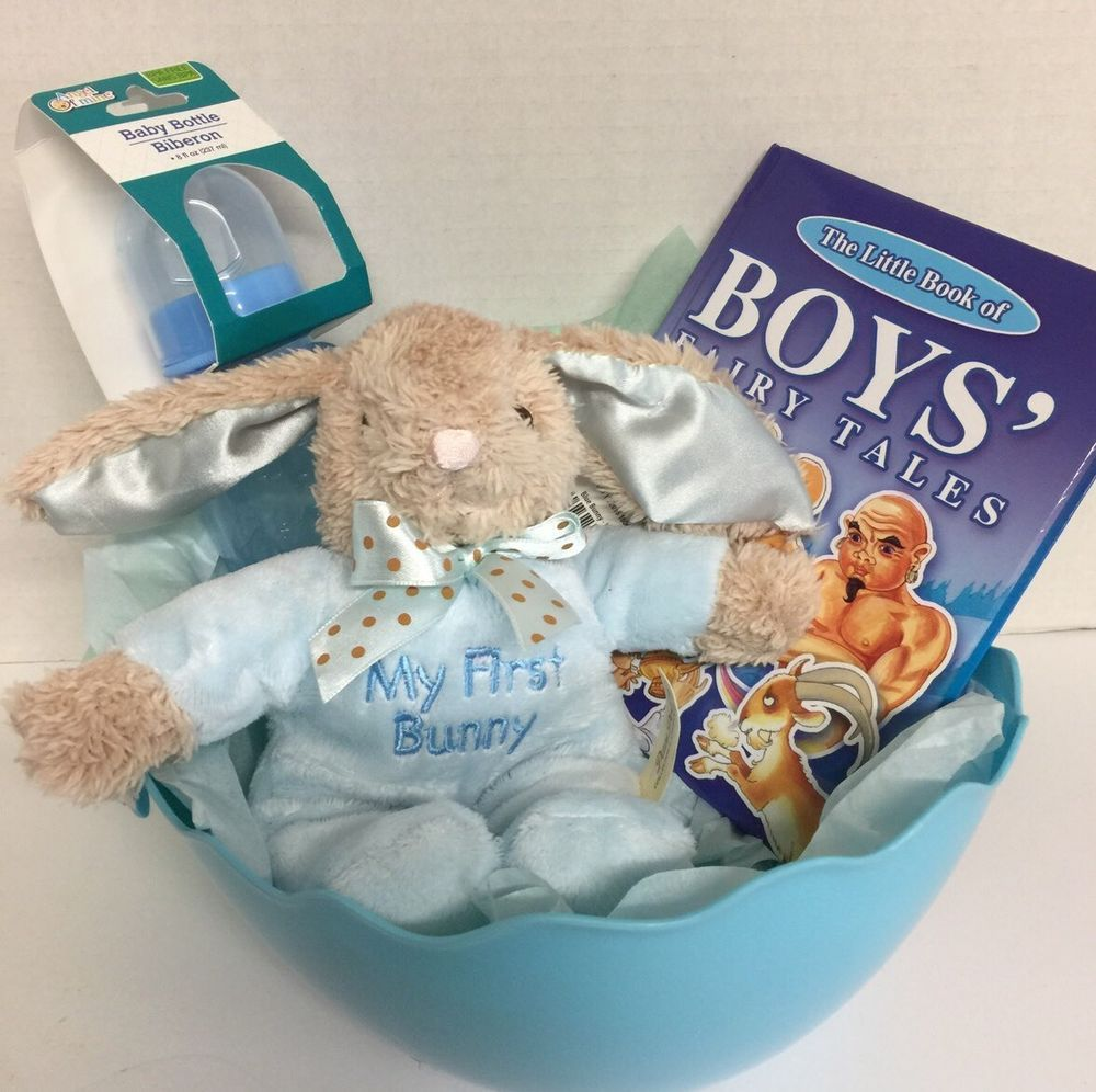 Infant boys easter basket filled my first bunny blue book blue infant boys easter basket filled my first bunny blue book blue first easter negle Image collections