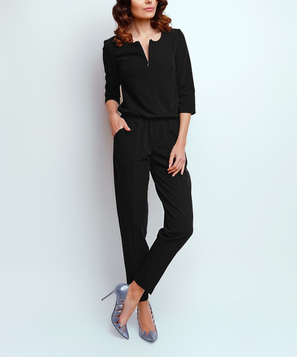 4c067c75a10e Black Notch Neck Jumpsuit by NAOKO  zulily  zulilyfinds