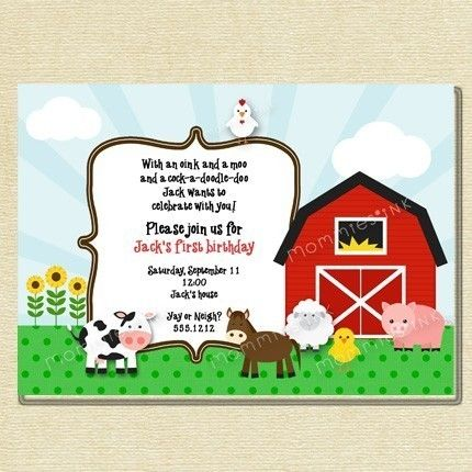 farm buddies birthday invite
