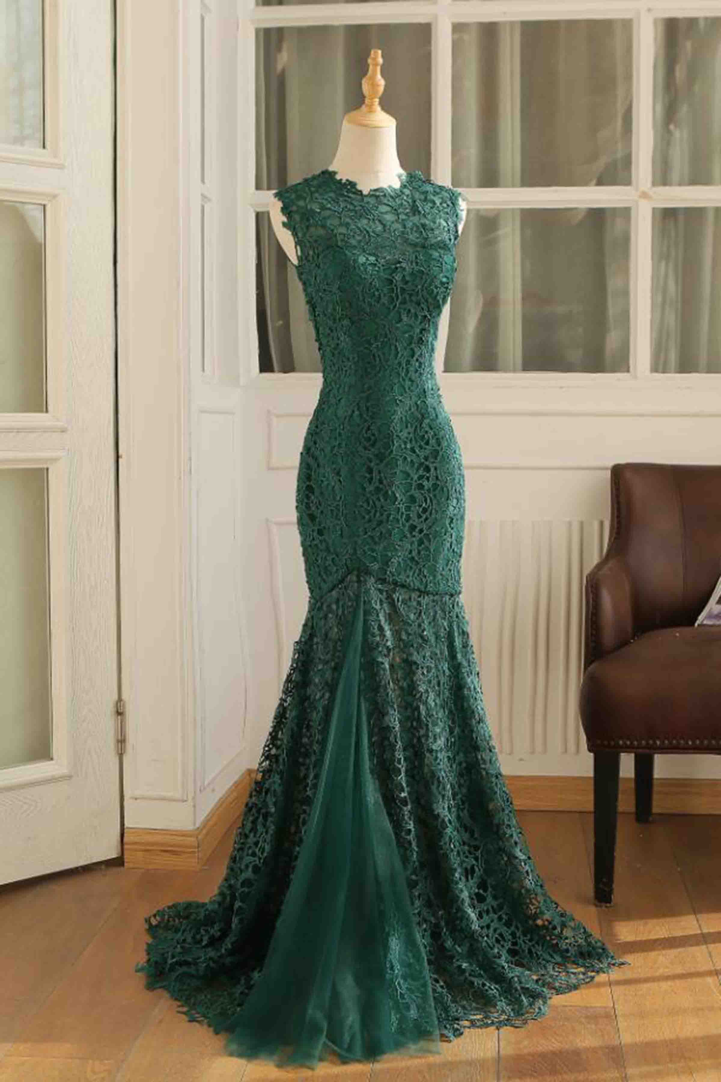 Green Lace Round Neck Mermaid See Through Long Prom Dresses From Girlsprom Evening Dresses Long Mermaid Prom Dresses Evening Dresses [ 3600 x 2400 Pixel ]