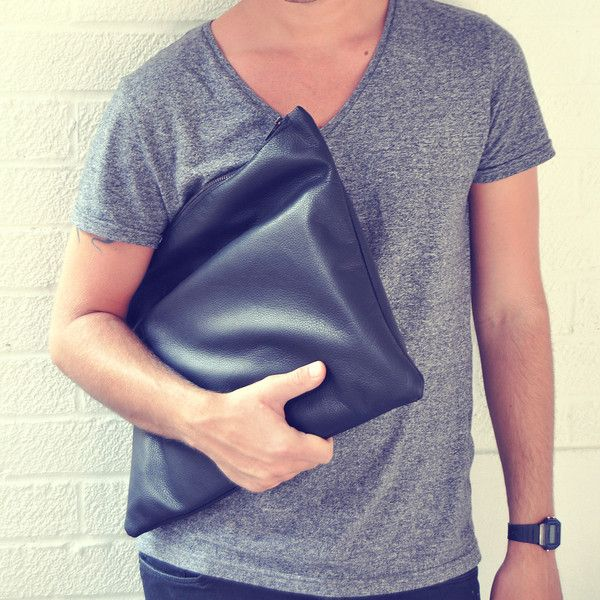 Large Leather Pouch Bag