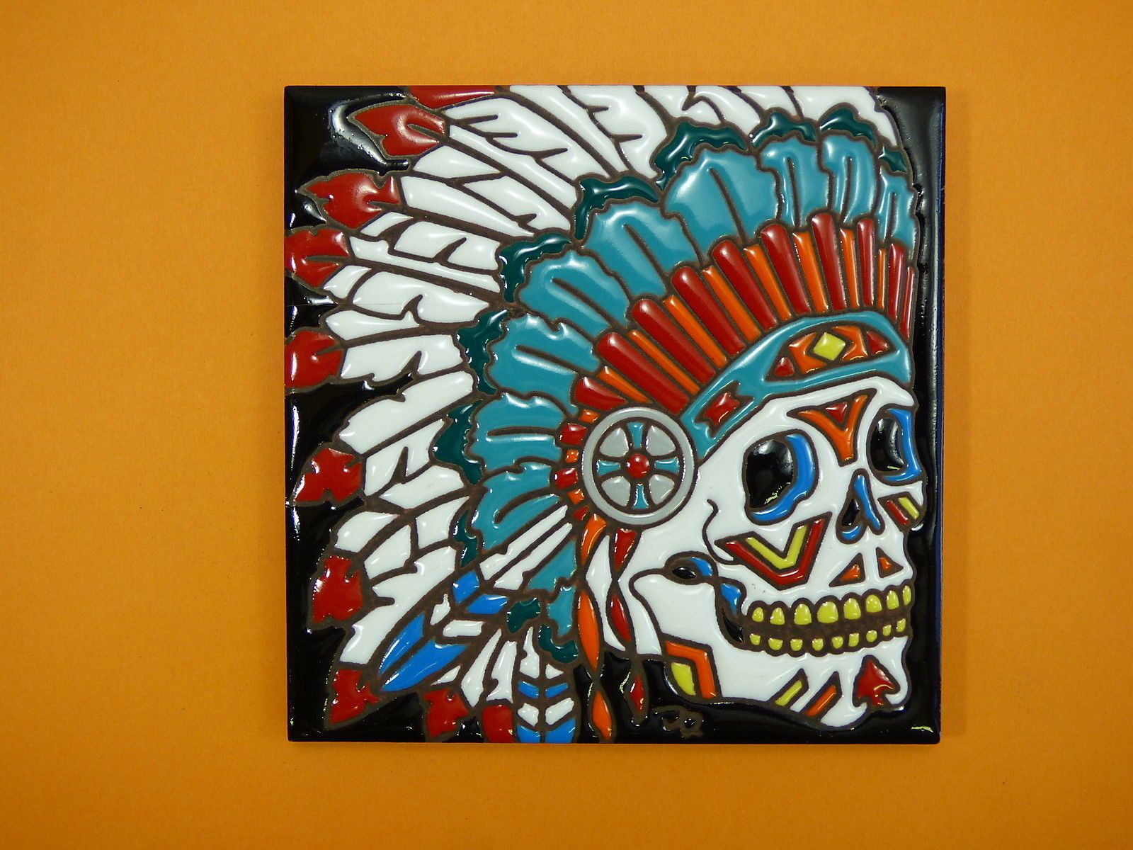Ceramic art tile 6x6 beautiful day of the dead indian headress ceramic art tile 6x6 beautiful day of the dead indian headress trivet wall k85 dailygadgetfo Choice Image
