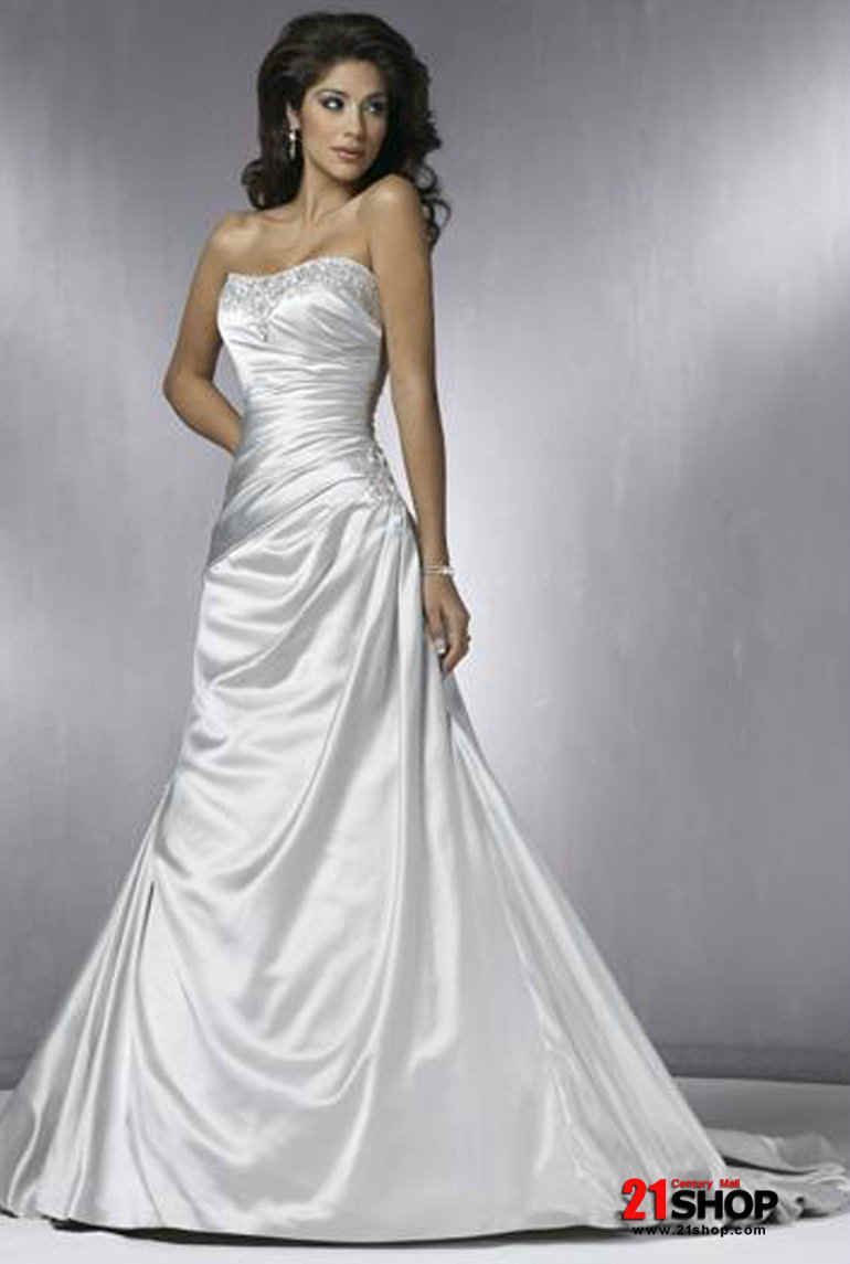 Strapless a line wedding dresses silver strapless for Silver satin wedding dress