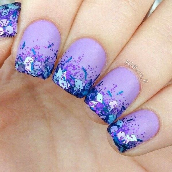 Instagram photo by @ane_li (Nails + Tutorials :3) - via Iconosquare ❤ liked on Polyvore featuring beauty products, nail care, nail polish, nails, beauty, makeup and glitter nail polish