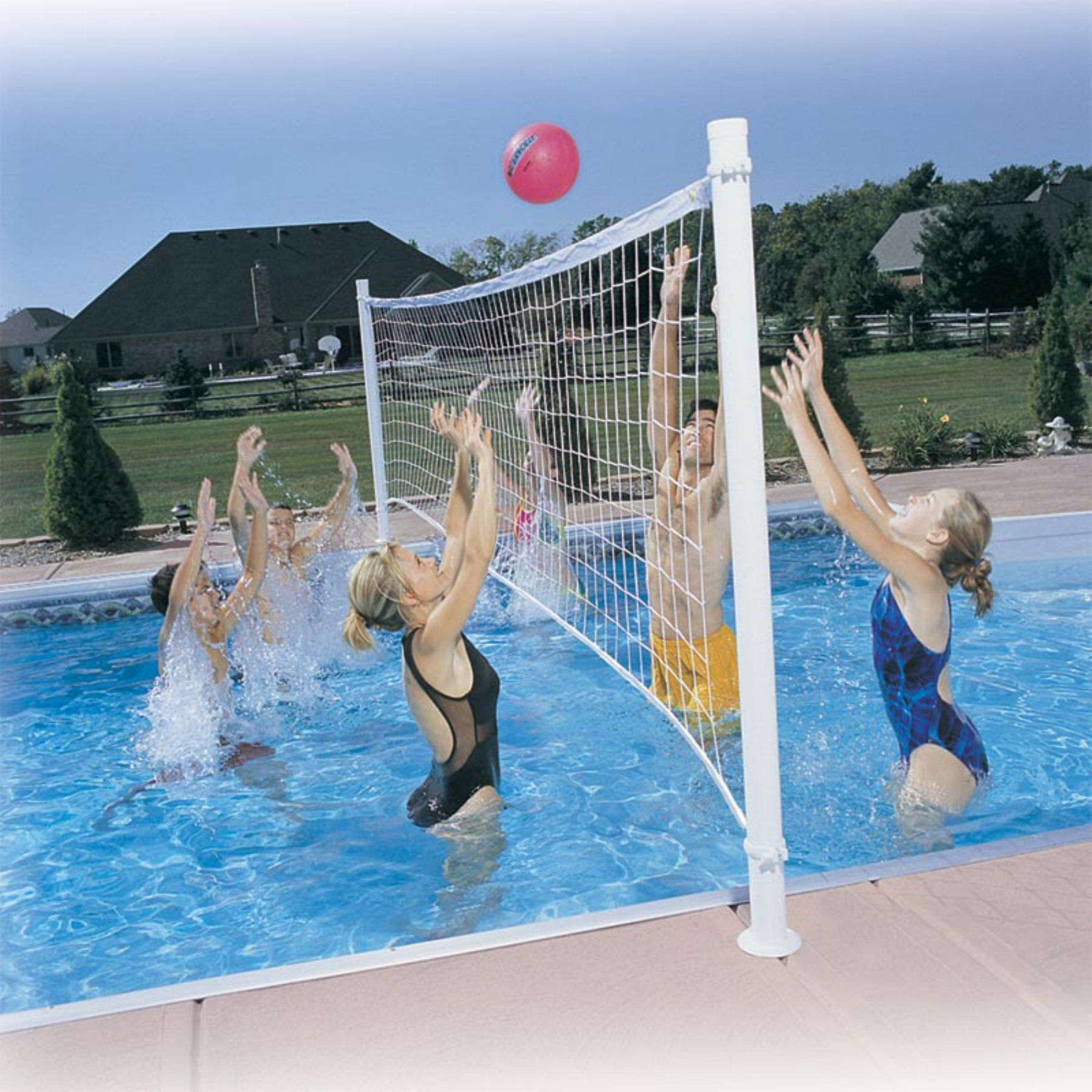 Dunn Rite Deck Volly Pool Volleyball System Dmv100br Pool Volleyball Net Pool Basketball Swimming Pool Games