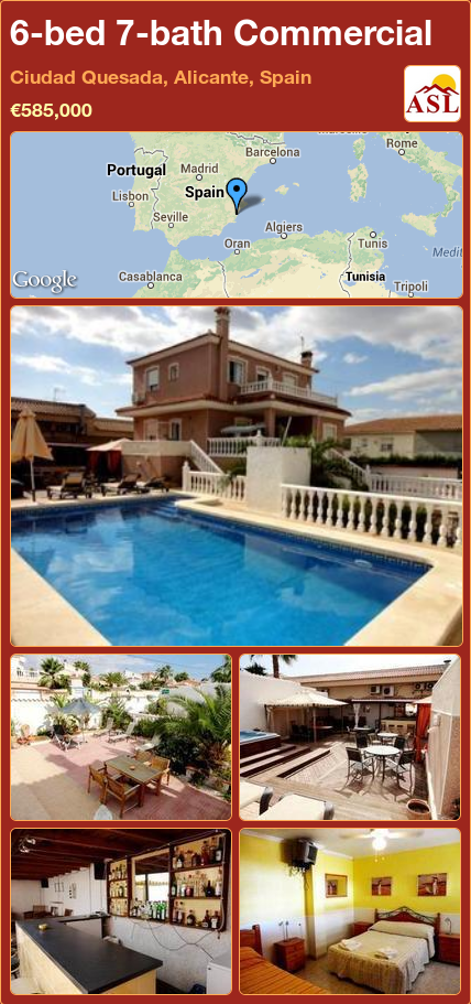 6-bed 7-bath Commercial in Ciudad Quesada, Alicante, Spain ►€585,000 #PropertyForSaleInSpain