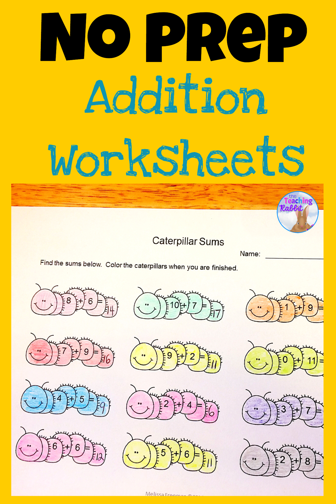 No Prep Addition Worksheets