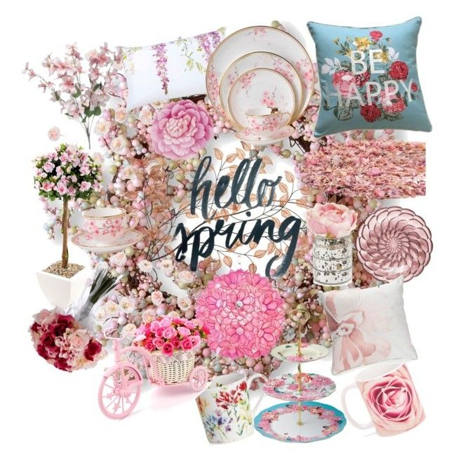 """floral mess"" by struckbydreshade ❤ liked on Polyvore featuring interior, interiors, interior design, home, home decor, interior decorating, National Tree Company, Talking Tables, Safavieh and Wedgwood"