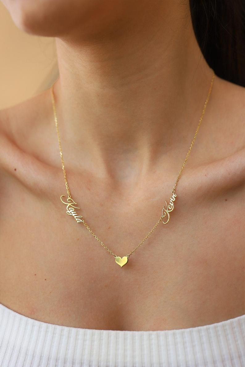 14k Solid Gold Two Name Necklace Gold Name Necklace Gold 2 Etsy Gold Name Necklace Name Necklace Gold Necklace