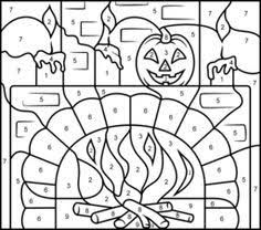 halloween coloring pages color by number | Resultado de imagen de colour by numbers halloween ...