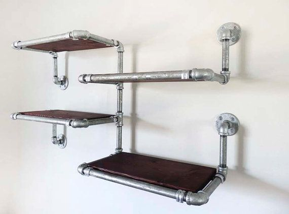 galvanized pipe shelves with stained reclaimed douglas fir. Black Bedroom Furniture Sets. Home Design Ideas