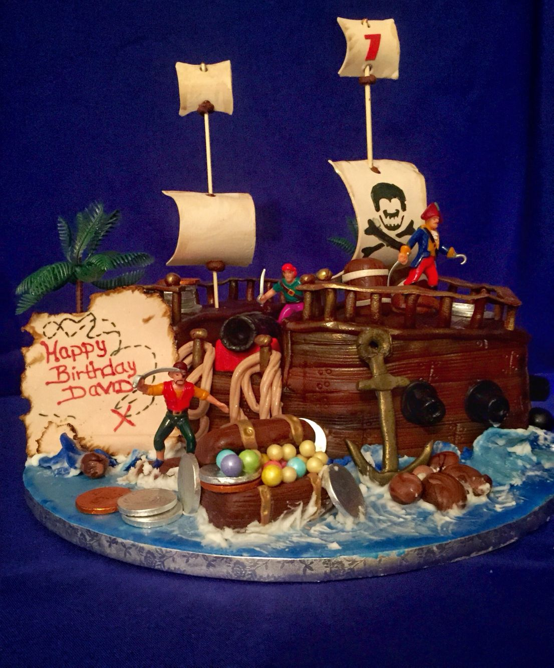 Pirate ship birthday cake for a little boys 7th birthday party