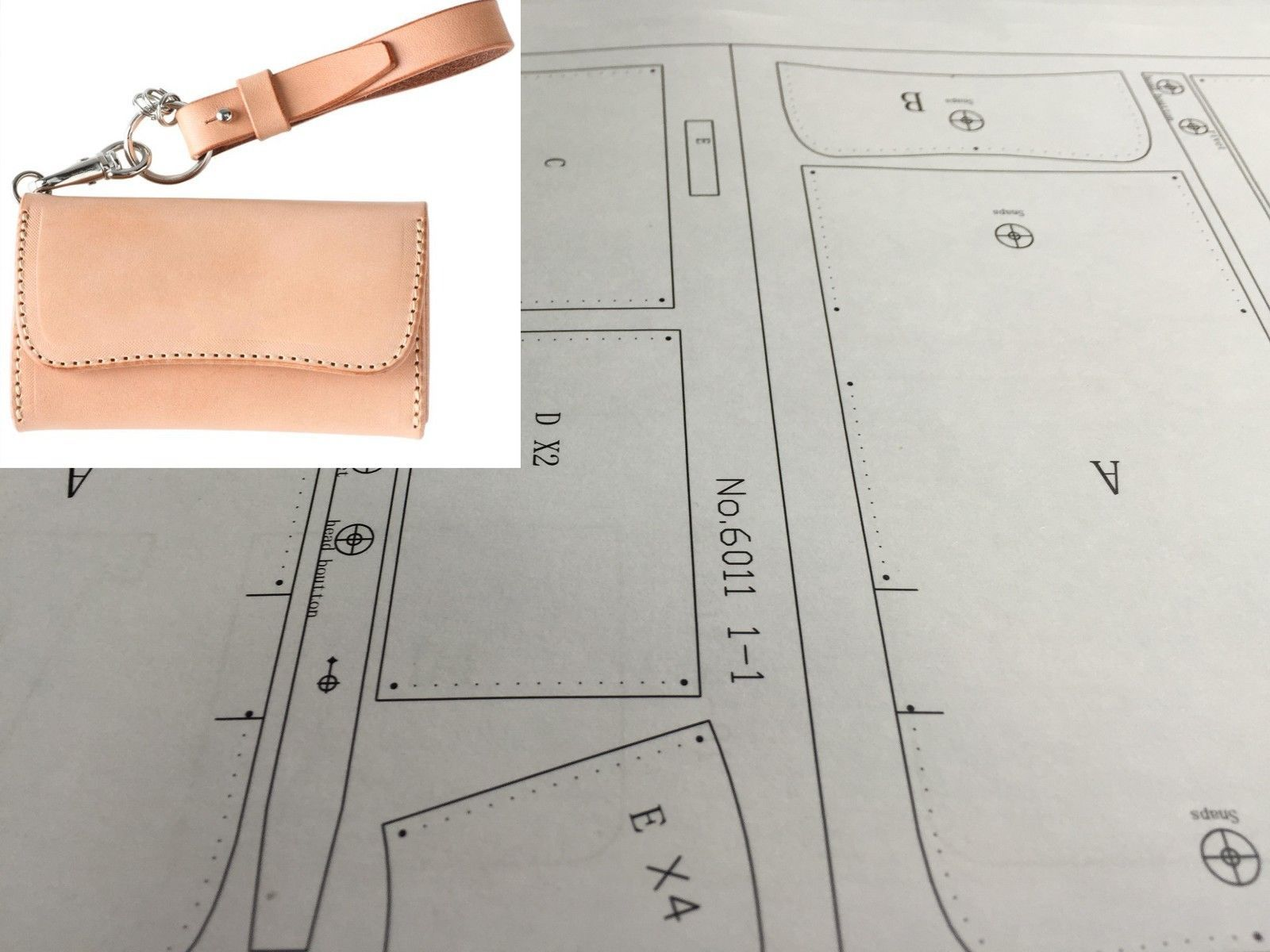 hight resolution of leather craft patterns diy designs short wallet paper template drawing tool 6011 ebay