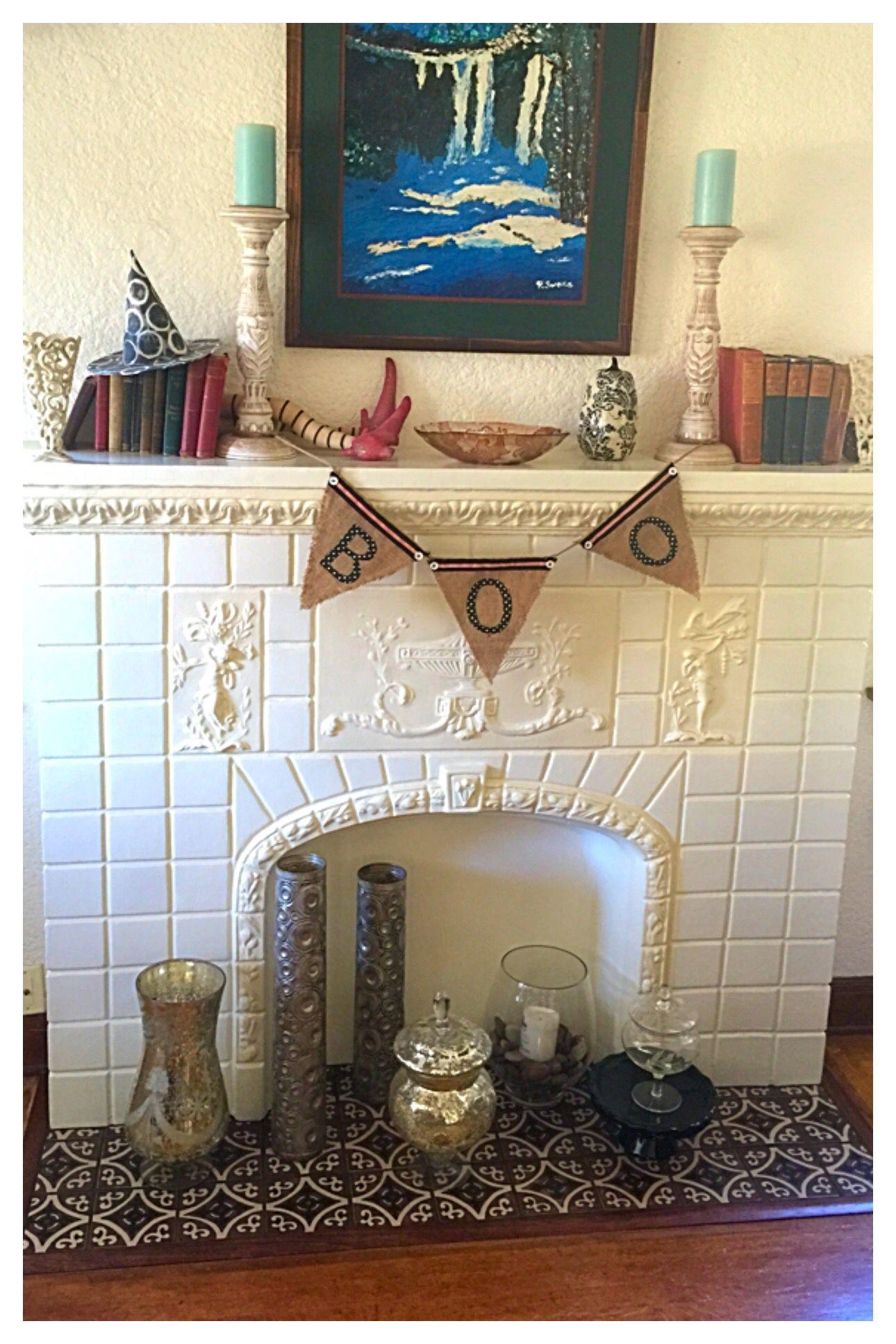 Halloween fireplace mantle Halloween fireplace, Mantel