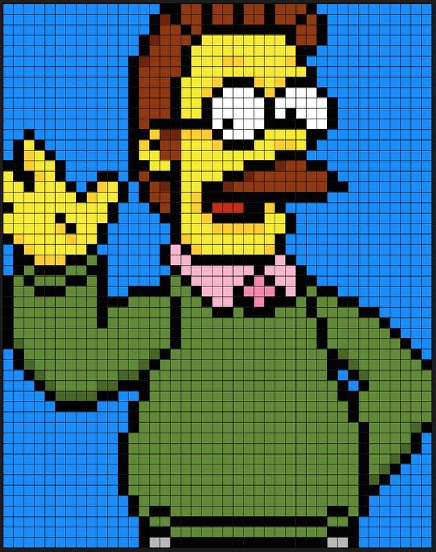 Ned Flanders The Simpsons Perler Bead Pattern By Kyle Mccoy Bordados En Punto Cruz Costura Punto De Cruz Dibujos En Cuadricula