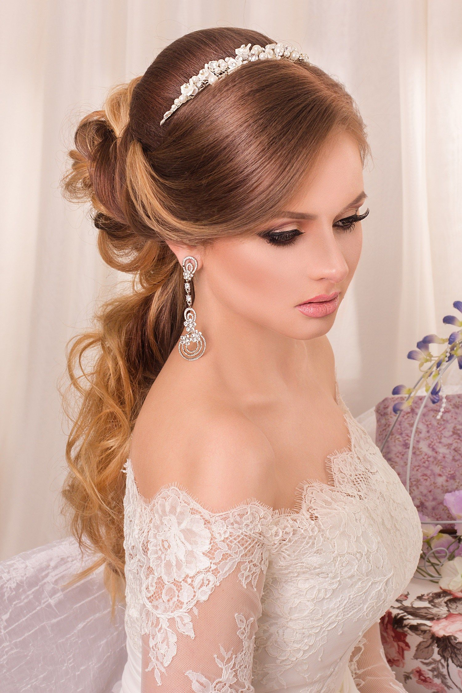 21 Wedding Hairstyle Perfect Hair Styles Off Shoulder Dress