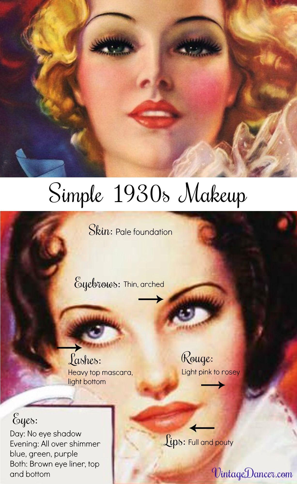 Simple, Natural 1930s Makeup Guide 1930s makeup, Makeup