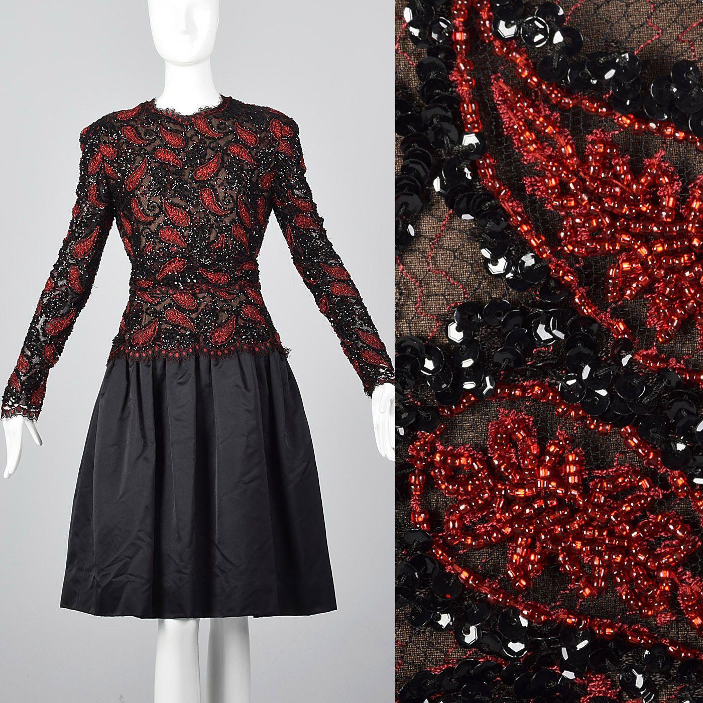 Awesome awesome m s travilla long sleeve dress beaded bodice