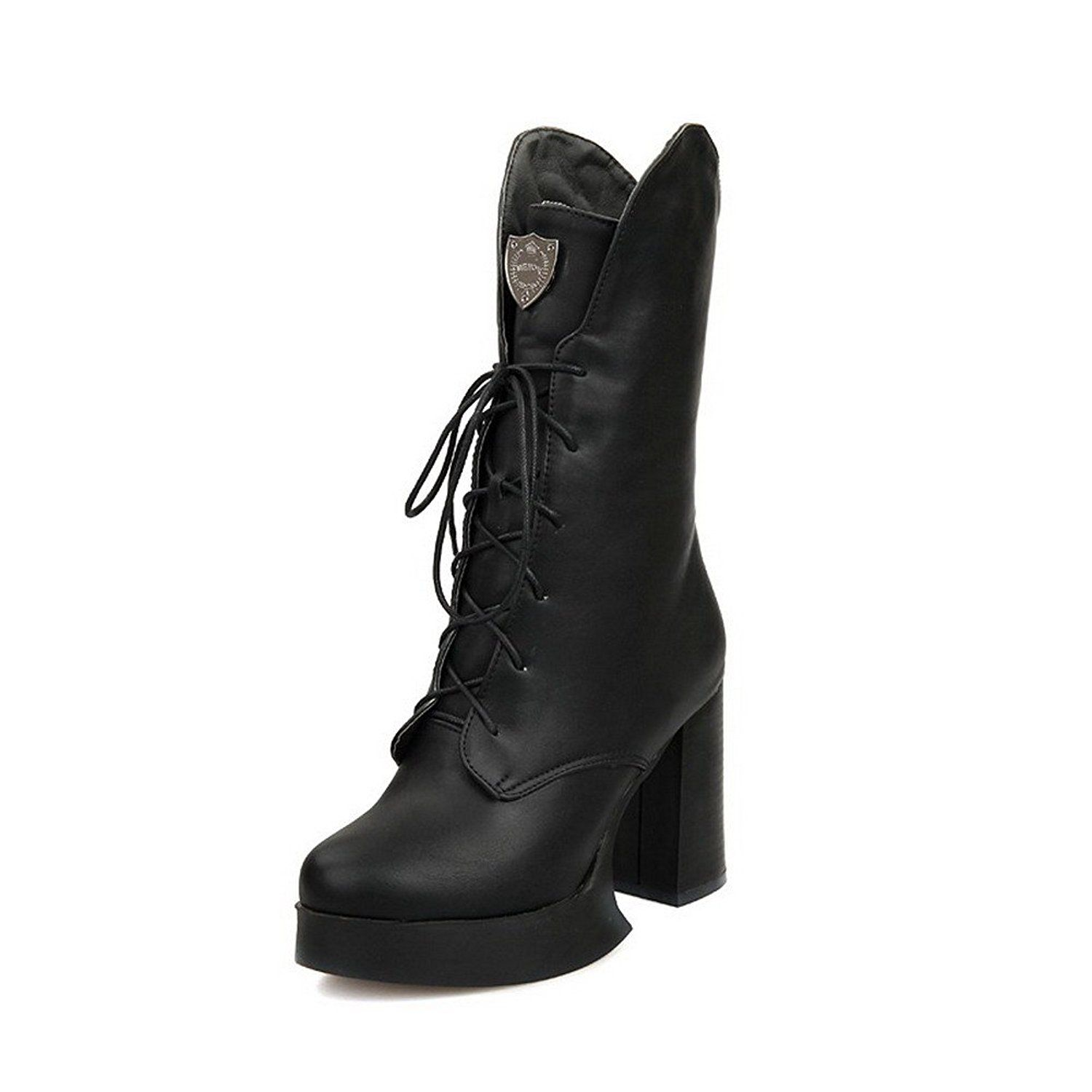 Women's Round Closed Toe Low Top High-Heels Solid Pu Boots