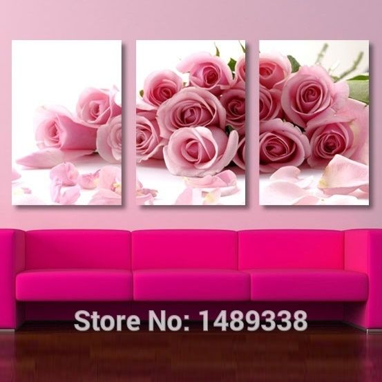 3 Piece Pink Rose Home Decorative Canvas Painting Living Room ...