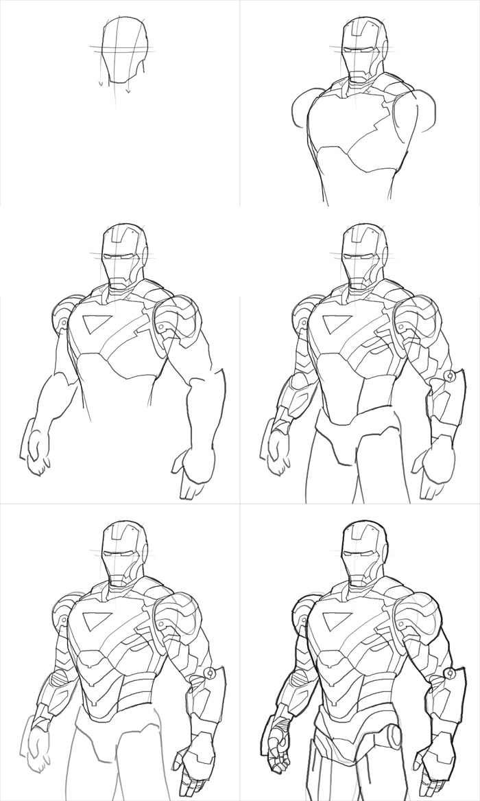 How to draw iron man mk vi by xia taptara