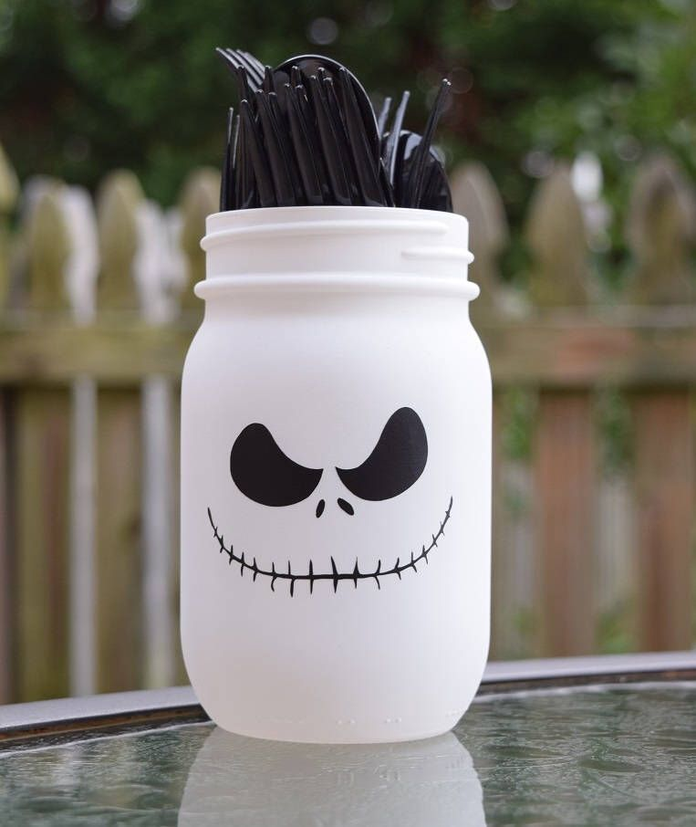 Jack Skellington Mason Jar, Nightmare Before Christmas Baby Shower, Nightmare  Before Birthday Party, Halloween Decorations, Halloween Party
