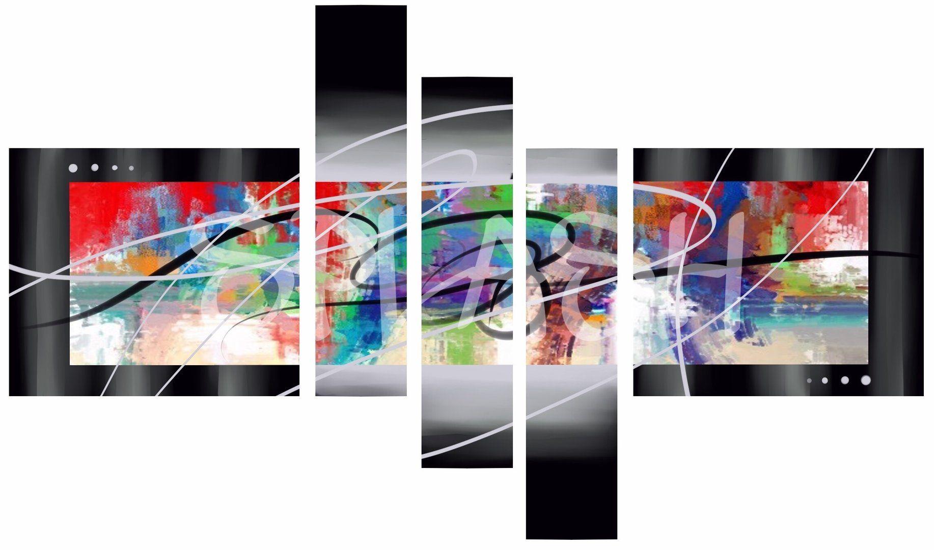 b1c3edc74 Cuadro colores Fondo Negro y plata SP164 #cuadros modulares# cuadros  abstractos# cuadros multiformas