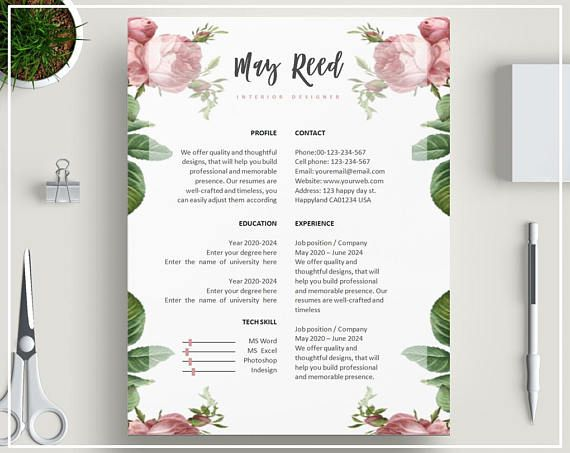 pink floral resume template   floral cv template   pink cv design   rose resume template   flower
