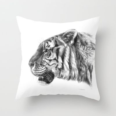 Tiger profile G077 Throw Pillow by S-Schukina - $20.00