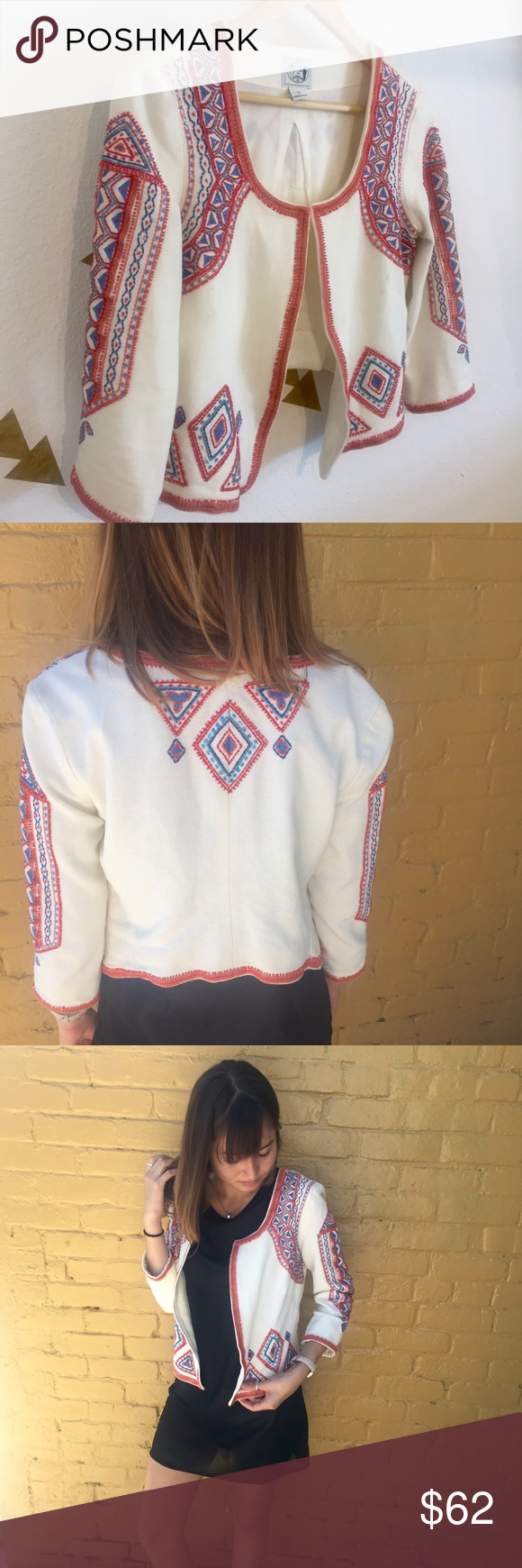 Irving & Fine Boho Jacket A gorgeous Irving & Fine jacket with so much embroidery and bead work, made in India, sold by Lucky Brand. Would work really well with a bohemian look, also in perfect condition. Lucky Brand Jackets & Coats