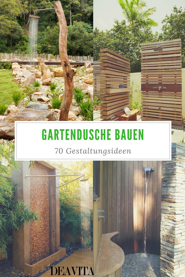 Gartendusche bauen – 70 inspirierende Gestaltungsideen für ...