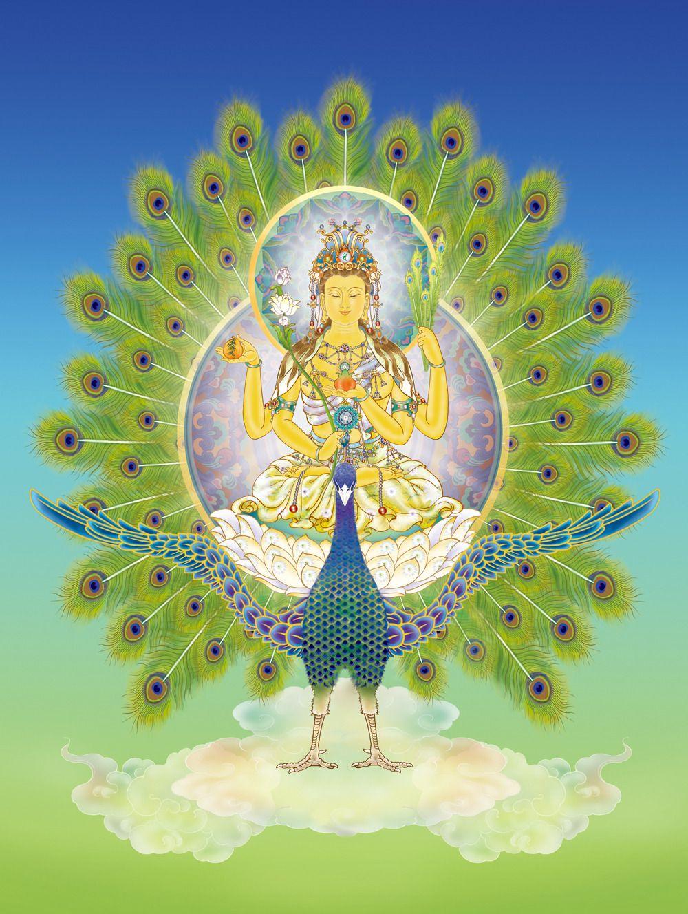Mahamayuri, also called Mahamayuir Vidya-rajni, is a peaceful goddess of  wisdom (similar to Saraswati in Hinduism)   Buddhist art, Wiccan art, Art