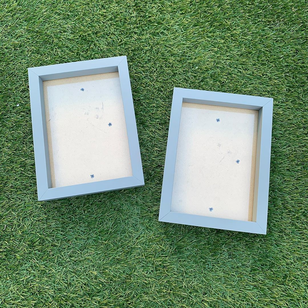◻️U P C Y C L I N G◻️we had a sort of the shed the other day & we found these frames from our old house. They were originally orange but a bit of spray paint & they are perfect! Swipe left to see before #interiordesigner #greyabode #housetohome #adulting #decor #loughton #upcycling