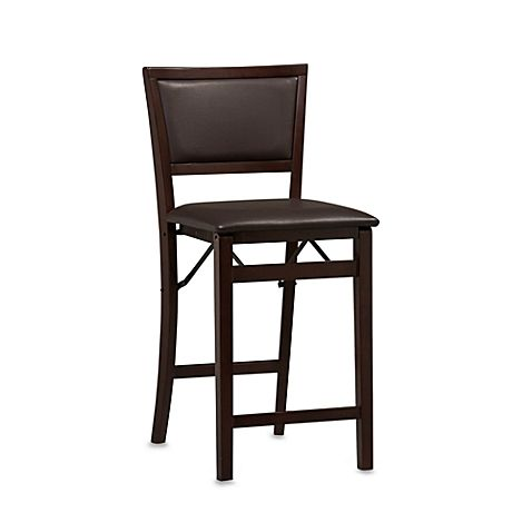 Sensational Padded Espresso 24 Inch Folding Stool Folding Bar Stools Caraccident5 Cool Chair Designs And Ideas Caraccident5Info