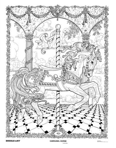 doodle art carousel horse coloring page poster b