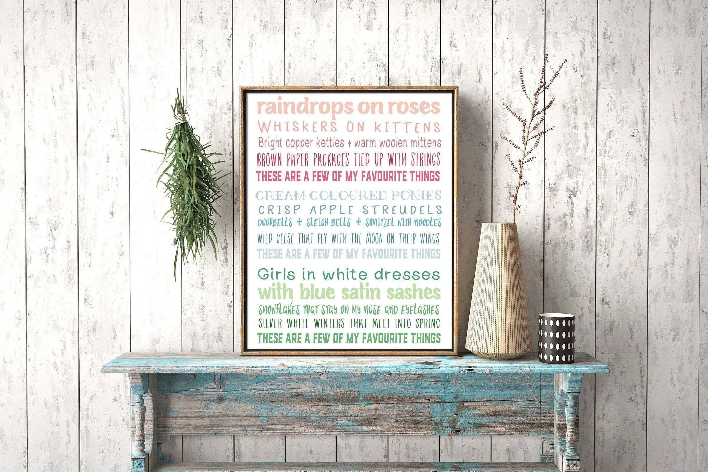 A fun poster with the lyrics. I like the different fonts