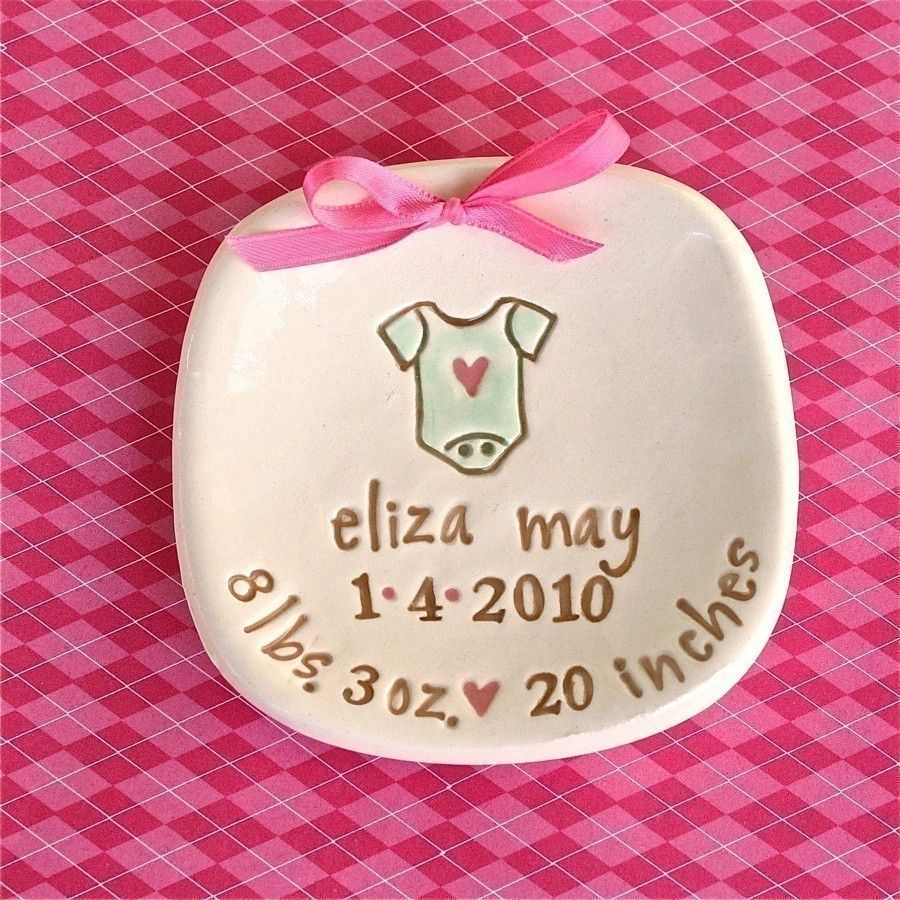 Personalized baby keepsake ceramic birth announcement 1800 babys personalized ceramic birth announcement keepsake dish little onesie nursery decor new baby gift negle Gallery