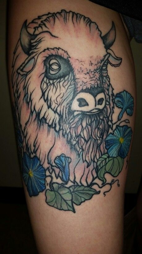 White buffalo tattoo with water color morning glories by Courtney ...