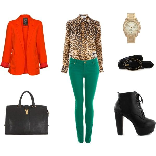 I love the mix of the orange, green, and leopard!