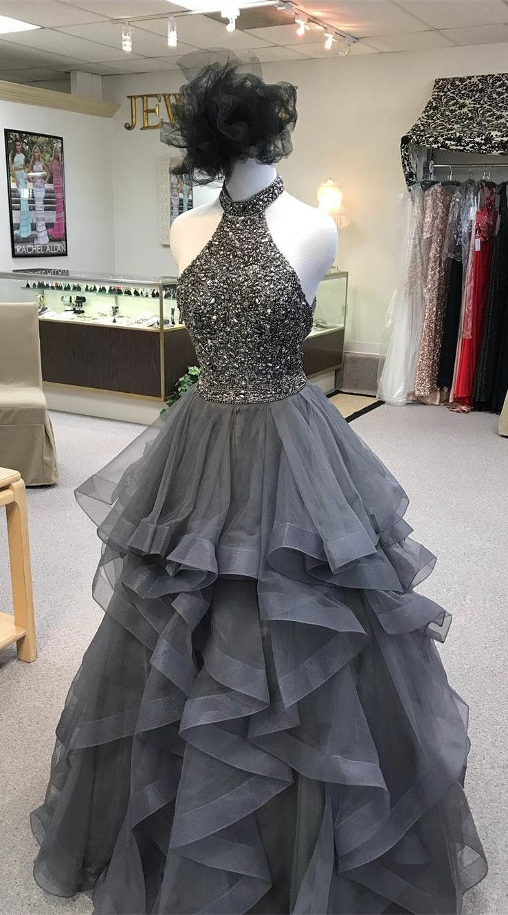 High neck long prom dress grey prom dress prom dress with