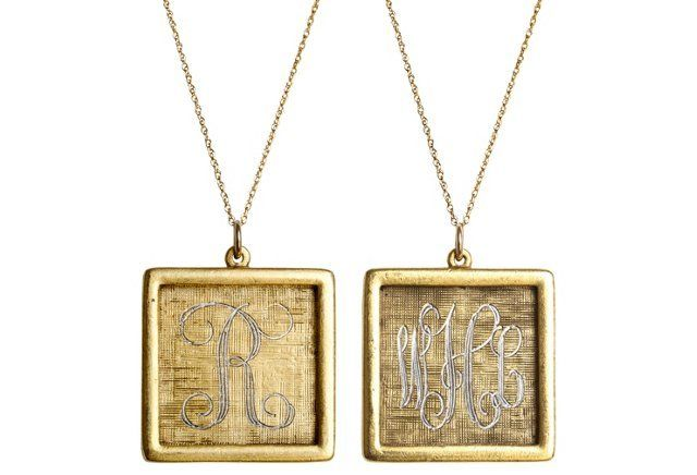 Large Square Initial Necklace