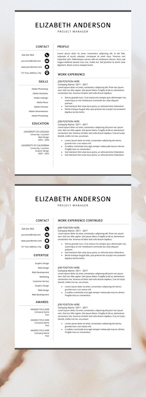 Professional Resume Template Creative Cv Templates Etsy Resume Design Template Resume Template Professional Unique Resume Template