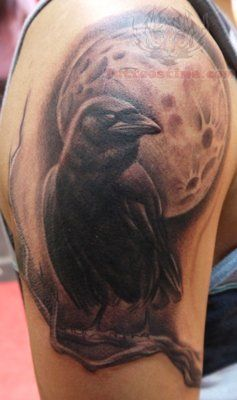 Moon And Raven Tattoo On Shoulder Butch Is Looking For A Raven Tat