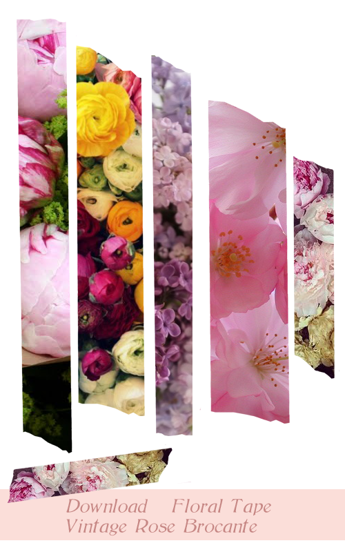 Floral digital washi tape download. Set one. Vintage Rose Brocante.