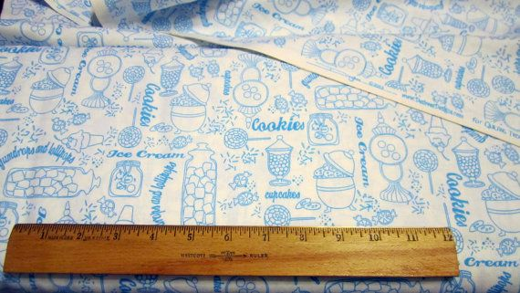 Gumdrops and Lollipops Sweetshop Blue Toile by Loriscountryfabrics, $8.95