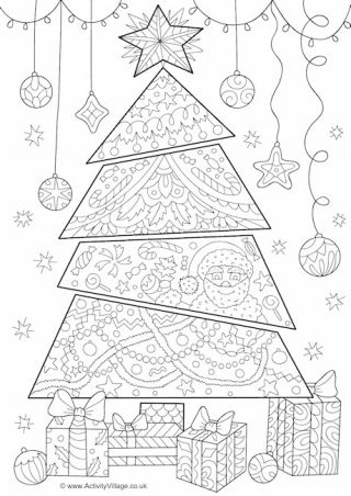 Christmas Tree Doodle Colouring Page | Colorear | Pinterest ...