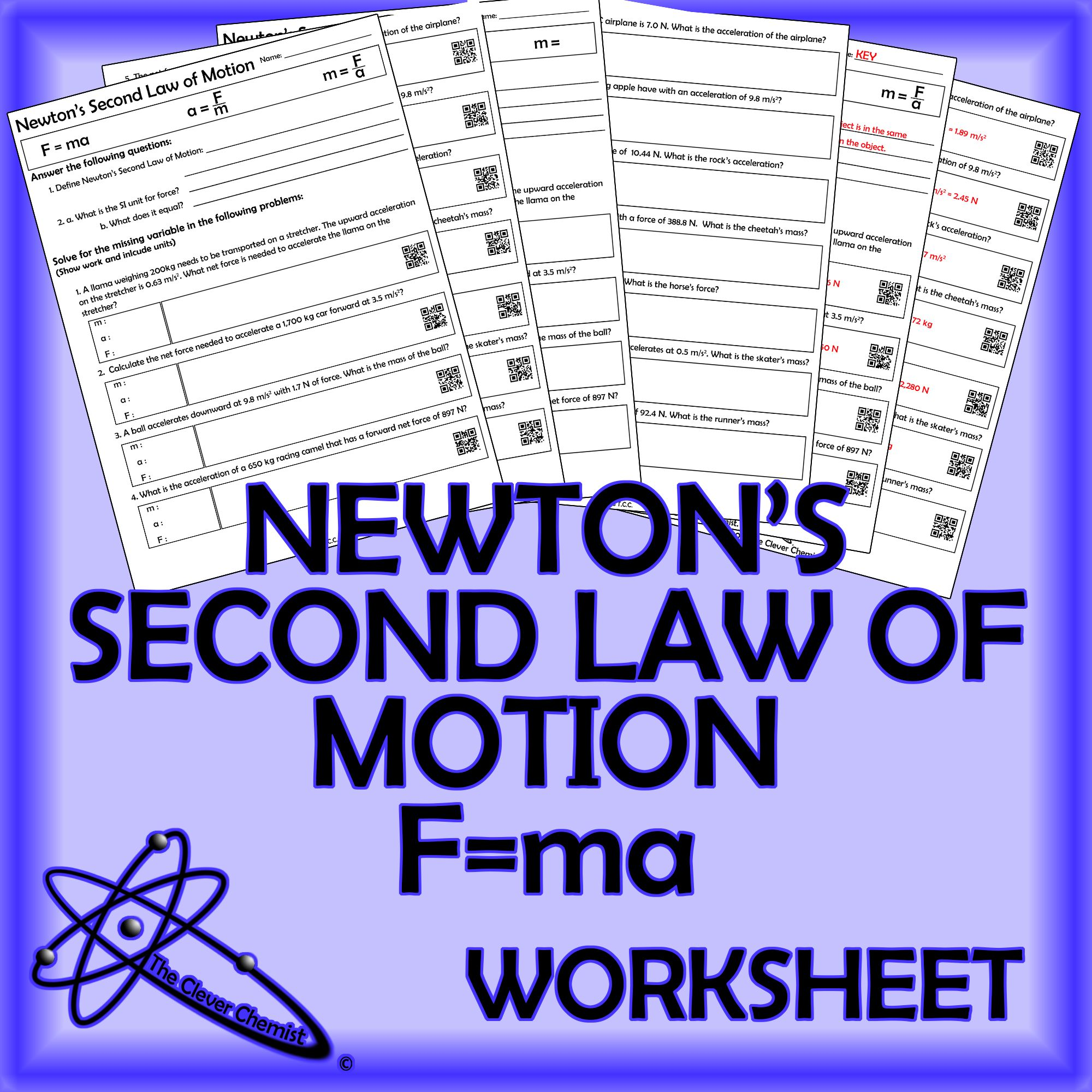 F Ma Newton S Second Law Of Motion Worksheet Physics Pinterest