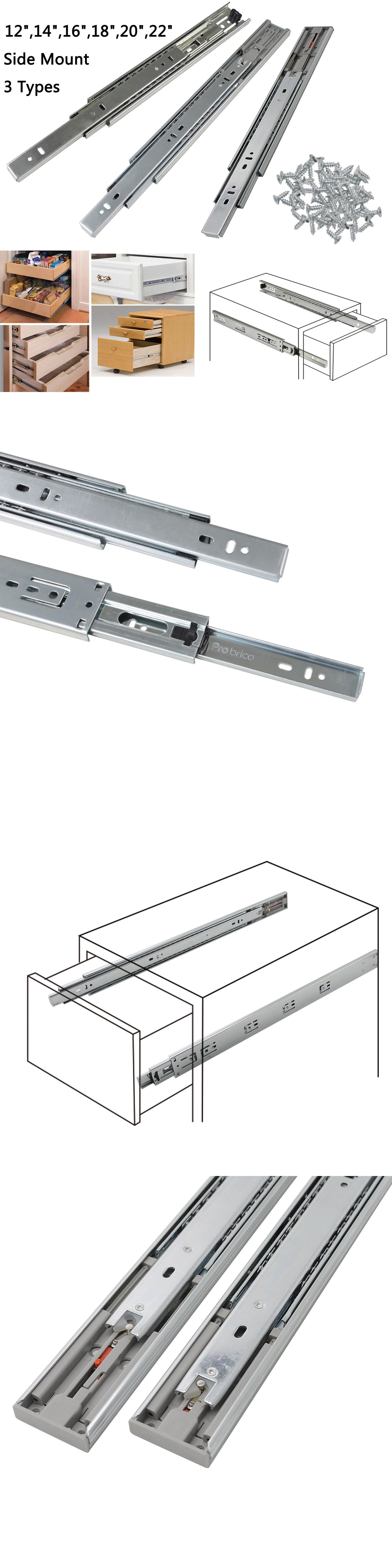 2pcs Black 8 inch Three-Section Full Extension Ball Bearing Side-Mounted Drawer Slide